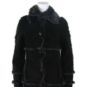 Karl Donoghue Womens Long Button Shearling Coat XS